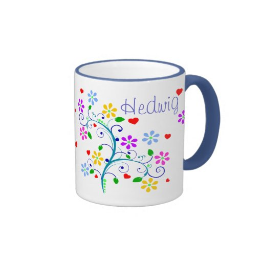 Customize - Hedwig Flower Cup - We *Heart* You Ringer Coffee Mug
