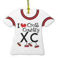 CUSTOMIZE -I heart (love) Cross Country Running XC Ornaments