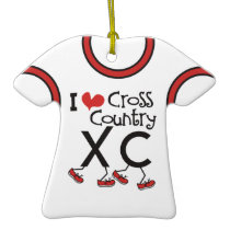 CUSTOMIZE -I heart (love) Cross Country Running XC Double-Sided T-Shirt Ceramic Christmas Ornament