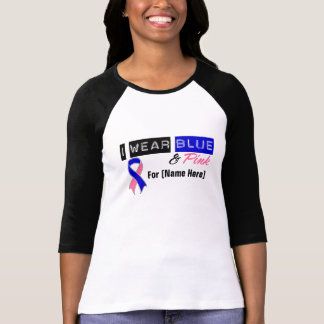 Customize I Wear Blue & Pink Male Breast Cancer T-shirt