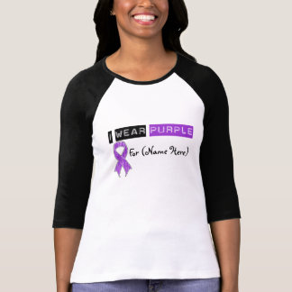 Customize I Wear Purple Ribbon Pancreatic Cancer T-shirt