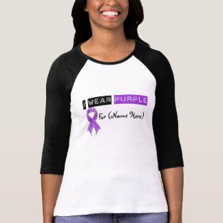 Customize I Wear Purple Ribbon Pancreatic Cancer Shirts