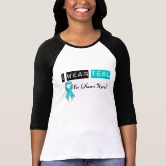 Customize I Wear Teal Ribbon Ovarian Cancer T Shirt