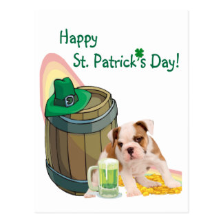 Customize It! Bulldog Puppy #2 St Pattys Day Card Postcard