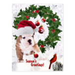Customize It! - Bulldog Puppy Christmas Version 2 Post Card
