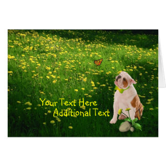 Customize It Bulldog Puppy Easter Card