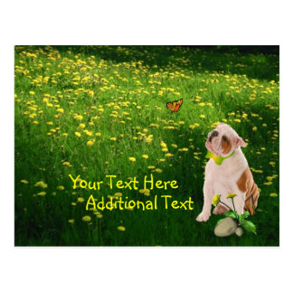 Customize It Bulldog Puppy Easter Post Card