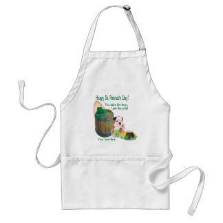Customize It! - Bulldog Puppy St. Patrick's Day Adult Apron