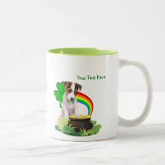 Customize It! Jack Russell St. Patricks Day Design Two-Tone Coffee Mug