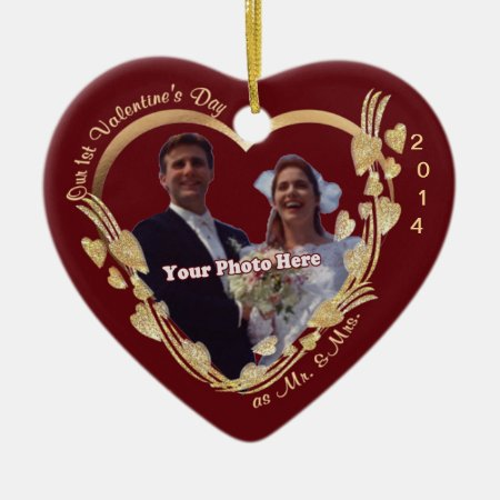 Customize It! - Our 1st Valentines Day As Mr & Mrs Ceramic Ornamen