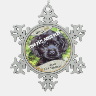 Customize it! - Puppys First Christmas Keepsake #2 Snowflake Pewter Christmas Ornament