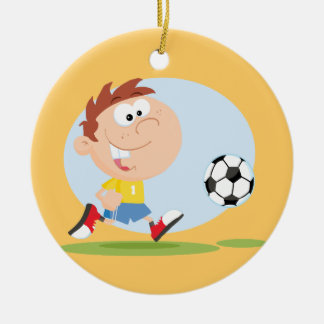 Customize It Soccer Boy T shirts and Gifts Double-Sided Ceramic Round Christmas Ornament
