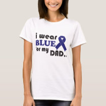 Customize Ladies V-Neck I Wear Blue For My Dad Col T-Shirt