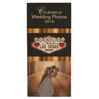 Customize Las Vegas Wedding Photo Design Wood Flash Drive