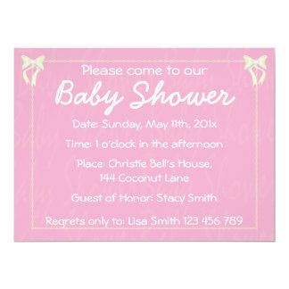 Customize Light pink Baby Girl shower invitation
