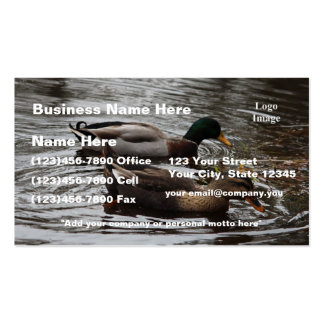 (Customize) Mallard Ducks on a Pond Photo Double-Sided Standard Business Cards (Pack Of 100)