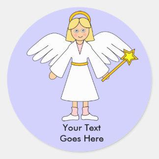 Customize Me -- Children s Nativity Angel Blonde Round Sticker