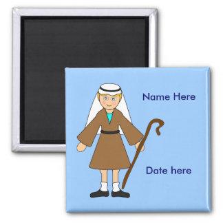 "Customize Me -- Children's Nativity ""Joseph"" 2 Inch Square Magnet"