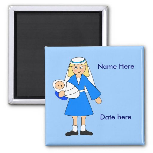 Customize Me -- Children's Nativity Mary and baby Magnets