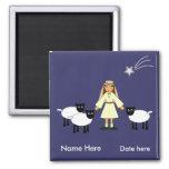 Customize Me -- Children's Nativity Shepherd Girl Refrigerator Magnet