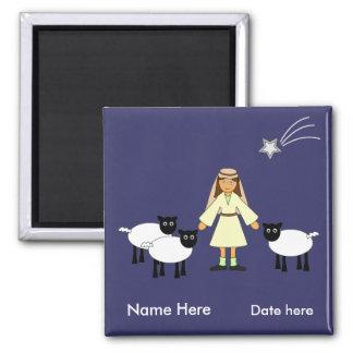 Customize Me -- Children's Nativity Shepherd Girl Magnet