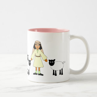 Customize Me -- Children's Nativity Shepherd Girl Two-Tone Coffee Mug