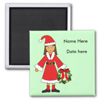 Customize Me -- Cute Christmas Picture (girl) 2 Inch Square Magnet