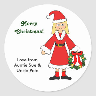 Customize Me -- Cute Christmas Picture (girl) Classic Round Sticker