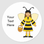 Customize Me -- Girl in Bee costume Round Stickers