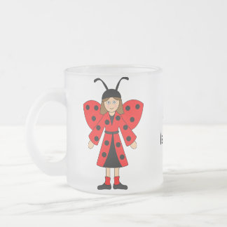 Customize Me -- Girl in Lady Bug costume Frosted Glass Coffee Mug