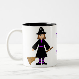 Customize Me -- Halloween Witch and Broomstick Two-Tone Coffee Mug