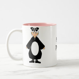 Customize Me -- Kid in Panda outfit Two-Tone Coffee Mug