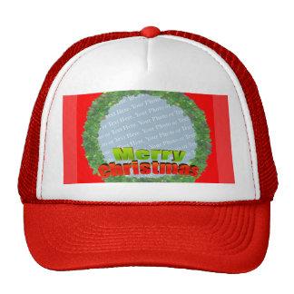 Customize Me - Merry Christmas Wreath Frame Trucker Hat