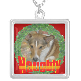 Customize Me - Naughty Wreath Frame Square Pendant Necklace