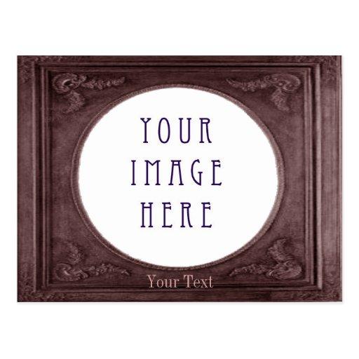 Customize Metallic Black Coffee Border Landscape Post Cards