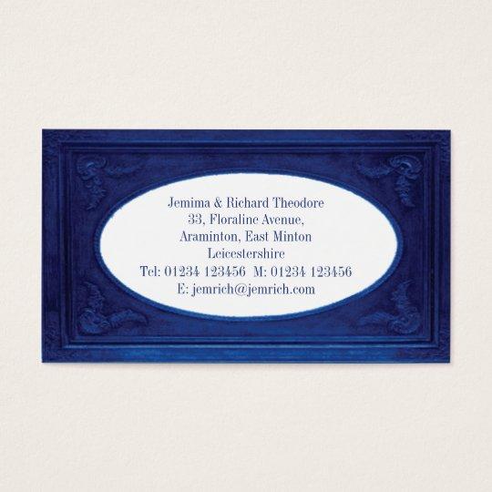 Customize Metallic Blue Border Business Card