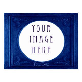 Customize Metallic Blue Border Lansdcape Postcard
