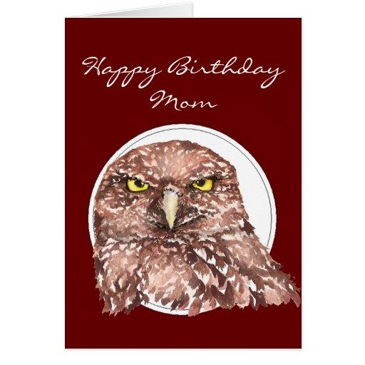Customize Mom Funny Birthday Burrowing Owl Greeting Card