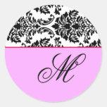 Customize Monogram Baroque Black and Pink Classic Round Sticker