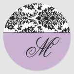 Customize Monogram Baroque Black and Purple Classic Round Sticker