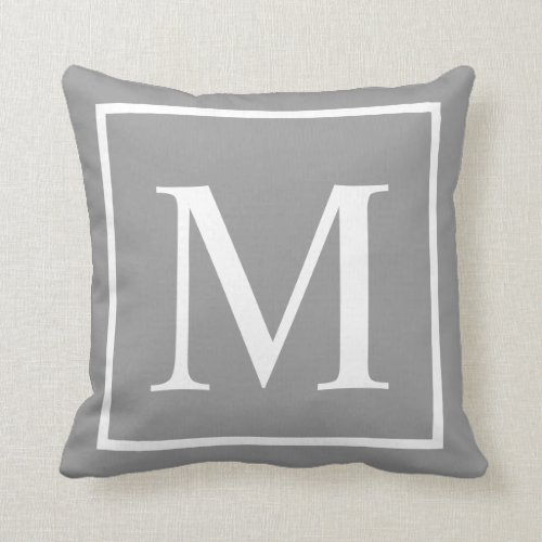Customize monogram on gray throw pillow