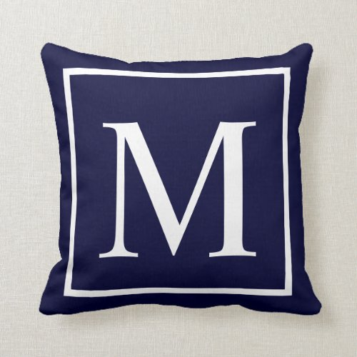 Customize monogram on navy blue throw pillow