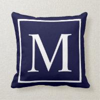 Customize monogram on navy blue throw pillow