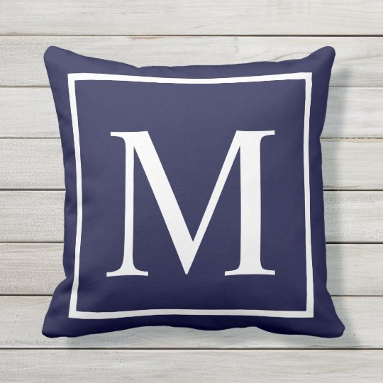 Customize Monogram Text On Navy Blue Outdoor Pillow