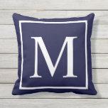 Customize monogram text on navy blue outdoor pillow