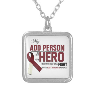 Customize MY HERO:  Head & Neck Cancer Silver Plated Necklace