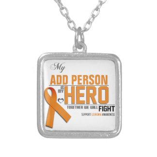 Customize MY HERO:  Leukemia Square Pendant Necklace