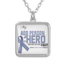 Customize MY HERO:  Stomach Cancer Silver Plated Necklace