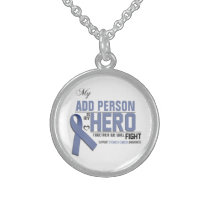 Customize MY HERO:  Stomach Cancer Sterling Silver Necklace