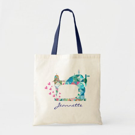 Customize Name Quilting Sewing Machine Tote Bag